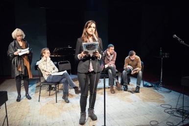 Marika Lagercrantz, Jonas Gren, Ljubov Jakymtjuk, Vadim Belenky och Serhij Zjadan, TeaterStudio Lederman